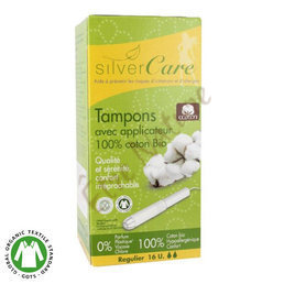 Tampons en coton bio avec applicateur Normal  Silvercare *16